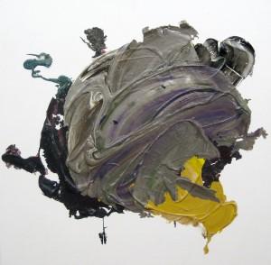 Besetzer, 2015, 60 x 60 cm, Acrylcollage auf Holz