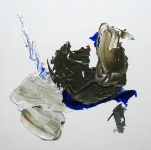 E 1, 2014, 40 x 40 cm, Acrylcollage auf Holz