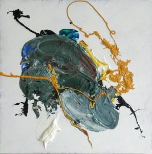 Heart, 2015, 58 x 58 cm, Acrylcollage auf Holz