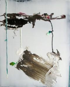 Heli, 2015, 76 x 58 cm, Acrylcollage auf Holz