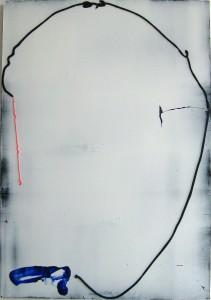 Locke, 2015, 115 x 80 cm, Acrylcollage auf Holz