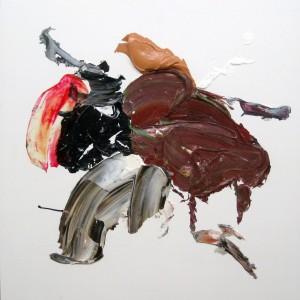 Runrun, 2015, 60 x 60 cm, Acrylcollage auf Holz