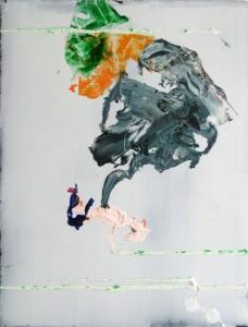 Step, 2015, 76 x 58 cm, Acrylcollage auf Holz